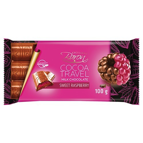 Молочный Шоколад Baron Cocoa Travel Sweet Raspberry 100 г.