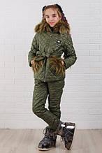 Детский супер тёплый зимний костюм на девочку куртка +брюки ( 5 цветов)  плащевка, синтепон, флис