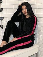 Черный велюровый костюм для дома с лампасами , фото 1