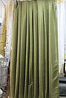 Комплект штор зелёный с вензелем