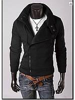 Мужская толстовка на молнии однотонная черная, фото 1