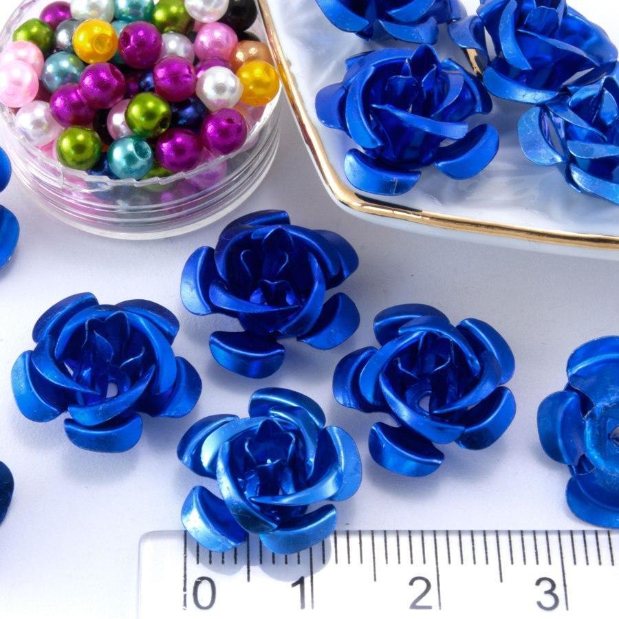 (≈35-40шт) Розочки металл Ø15мм Серединки Цвет - Синий