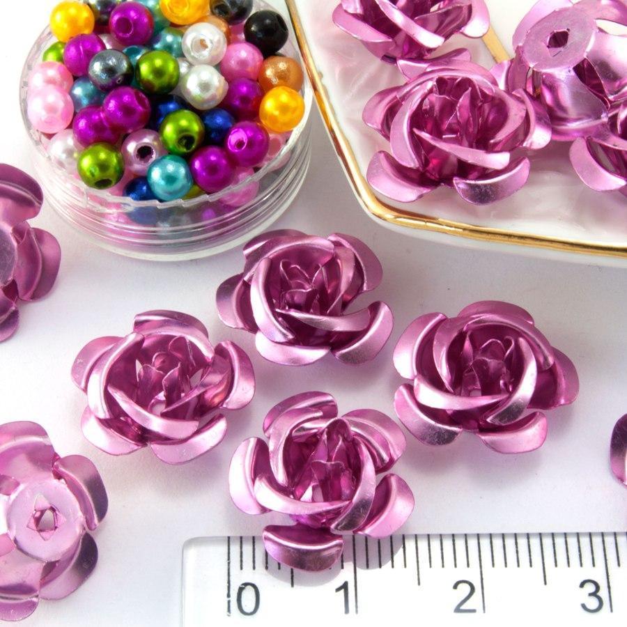 (≈35-40шт) Розочки металл Ø15мм Серединки Цвет - Розовый