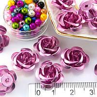 (≈35-40шт) Розочки металл Ø15мм Серединки Цвет - Розовый, фото 1