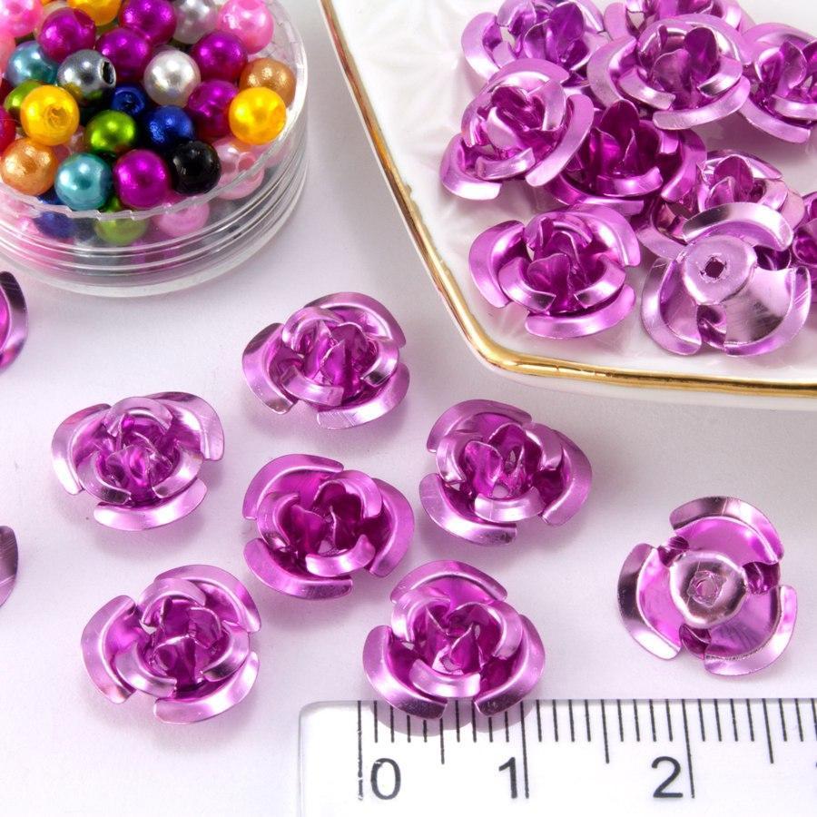 (≈35-40шт) Розочки металл d=11мм Серединки,кабошоны Цвет - Розовый
