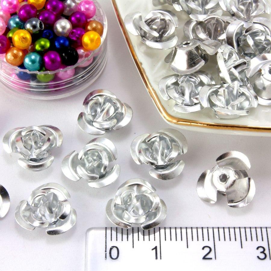 (≈35-40шт) Розочки металл d=11мм Серединки,кабошоны Цвет - Серебро