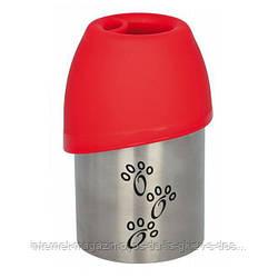 Тrixie Bottle with Bowl металлическая дорожная бутылка с миской, 300мл