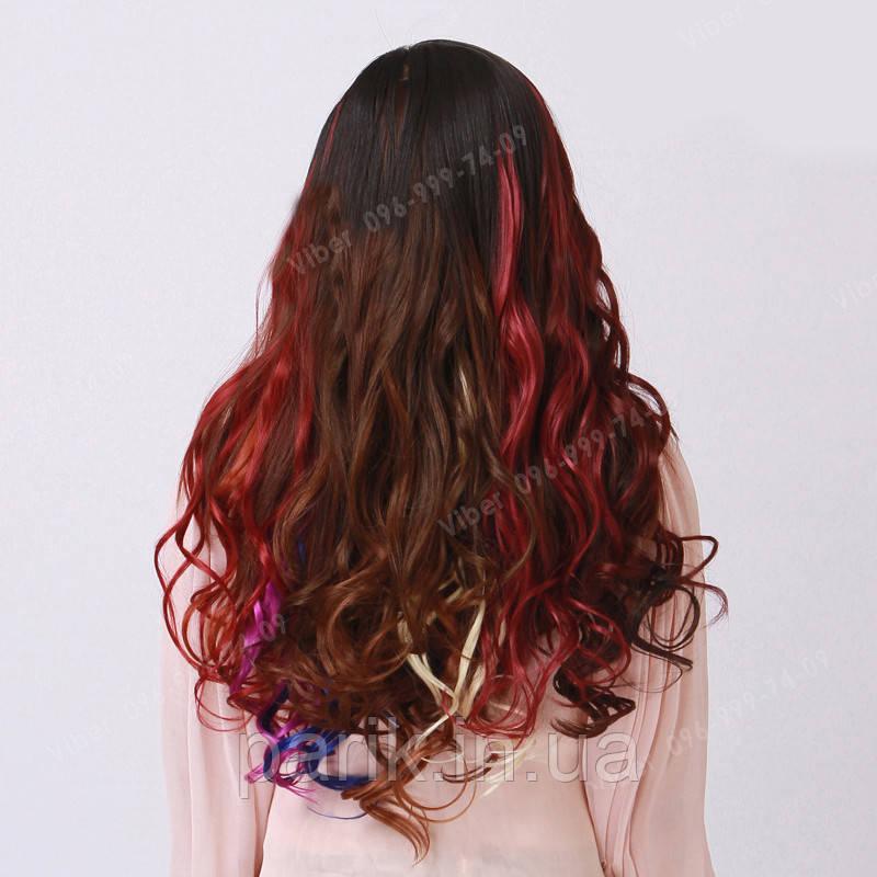 Волосы на заколках цветные мини трессы, магахон