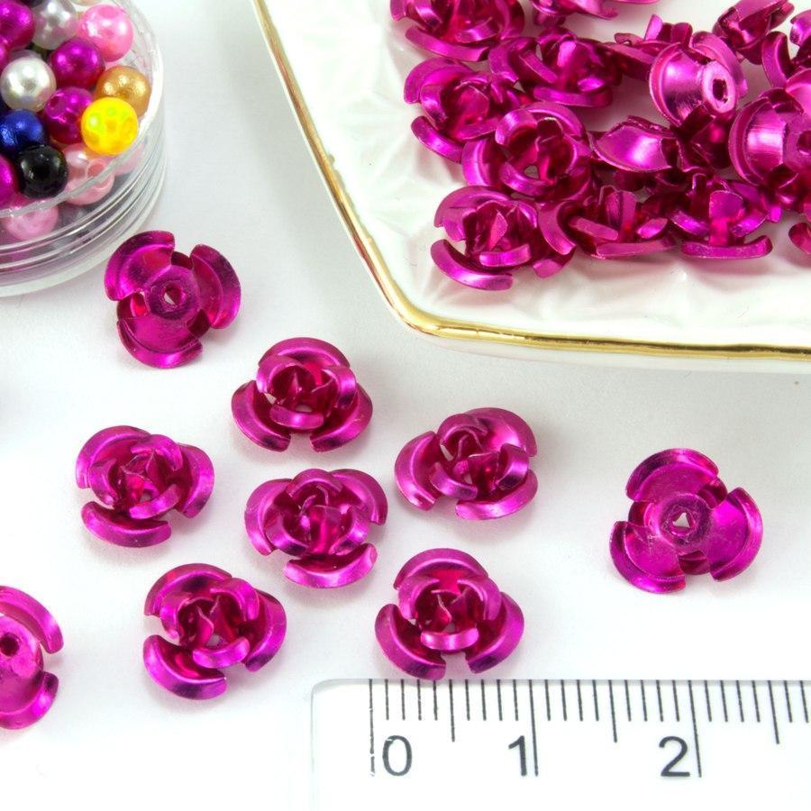 (≈35-40шт) Розочки металл d=9мм Серединки,кабошоны  Цвет - Малиновый