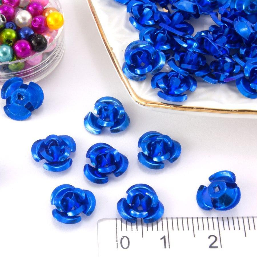(≈35-40шт) Розочки металл d=9мм Серединки,кабошоны  Цвет - Синий