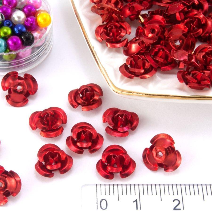 (≈35-40шт) Трояндочки метал Ø9мм Серединки Колір - Червоний