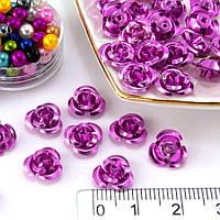 (≈35-40шт) Розочки металл Ø9мм Серединки Цвет - Розовый, фото 1