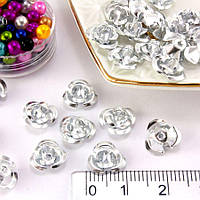 (≈35-40шт) Розочки металл Ø9мм Серединки Цвет - Серебро