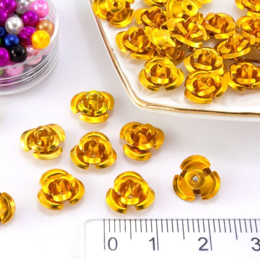 (≈35-40шт) Розочки металл Ø9мм Серединки Цвет - Золото