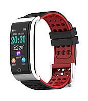 E08 Фитнес браслет HD дисплей ЭКГ тонометр давление крови пульсометр для iPhone Android калории черно красный