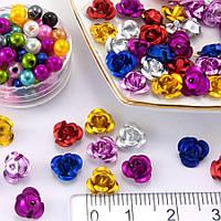 (≈35-40 шт) Розочки металл Ø7мм, серединки Цвет - МИКС