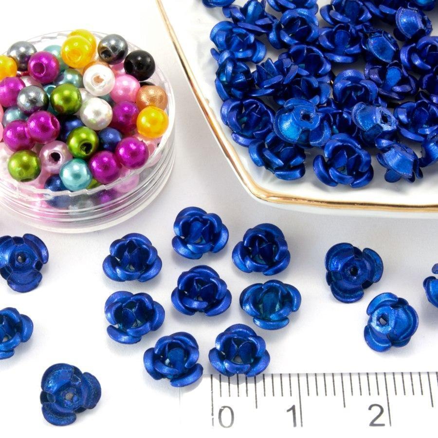 (≈35-40 шт) Трояндочки метал Ø7мм, серединки Колір - Синій