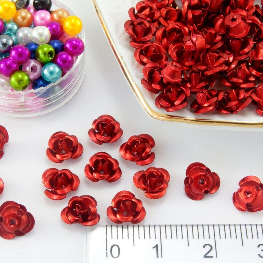 (≈35-40 шт) Розочки металл Ø7мм, серединки Цвет - Красный