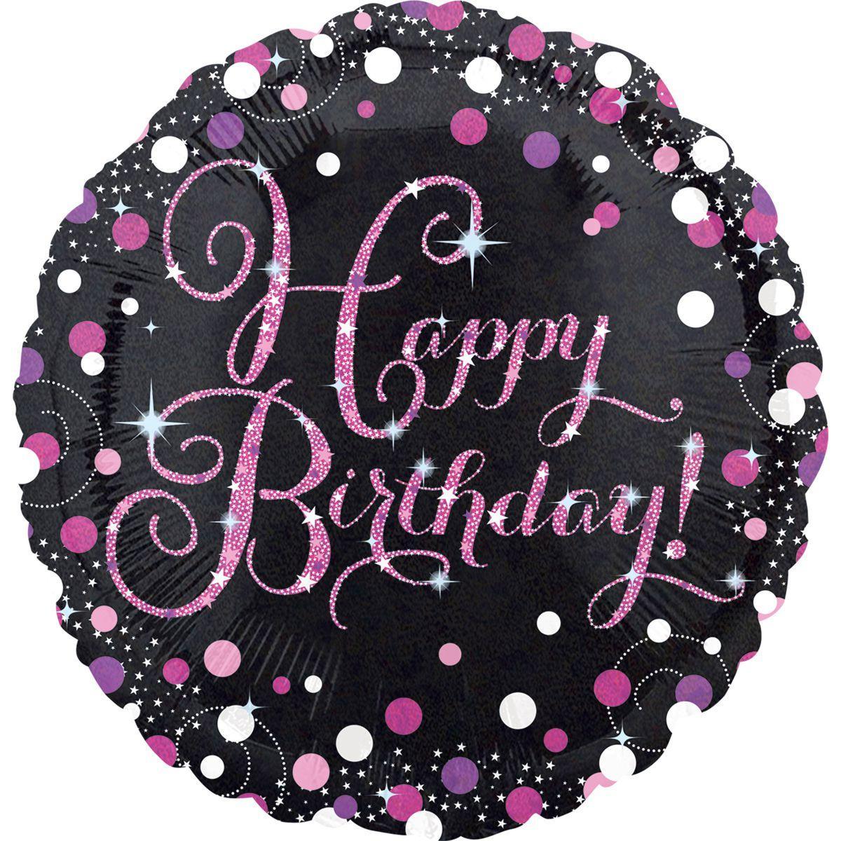 """Круг 18"""" ANAGRAM-АН Happy Birthday - розовое конфетти на черном (УП)"""