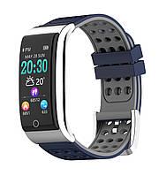 E08 Фитнес браслет HD дисплей ЭКГ тонометр давление крови пульсометр для iPhone Android калории сон сине серый