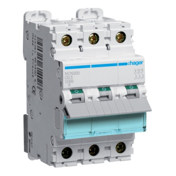 Трехполюсный автоматический выключатель Hager 10kA 0.5-63А