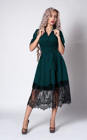 """Платье  """"Виола"""" бутылочного цвета, фото 2"""