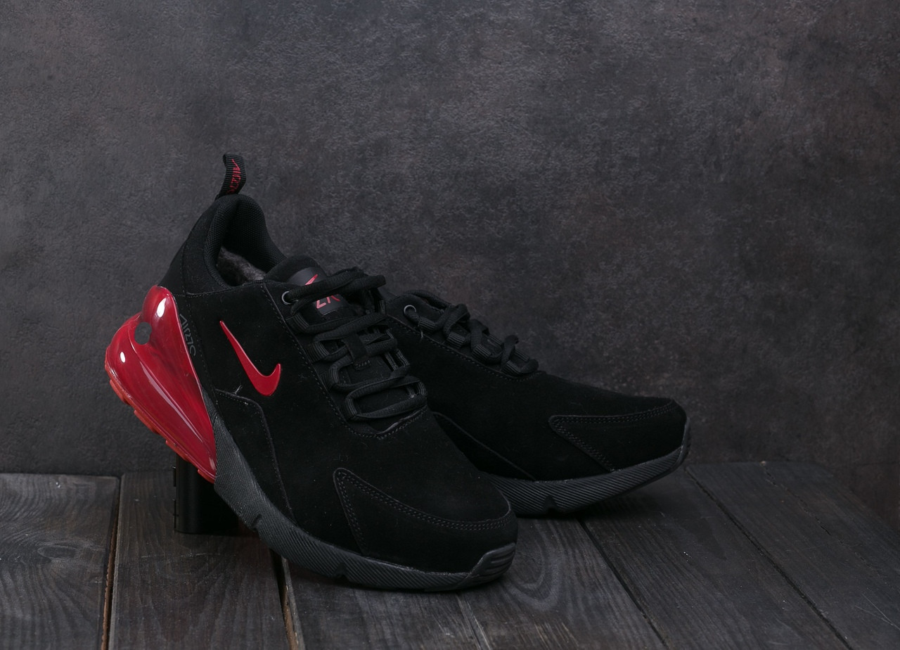 3844e0e66 Мужские замшевые кроссовки на меху Nike Air Max 270 черные с красным топ  реплика