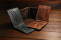 Мужской кошелек кожаный, гаманець, зажим для денег. Натуральная кожа! Ручная работа!