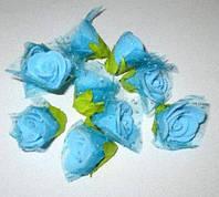 Головки роз с фатином, 2 см, голубые