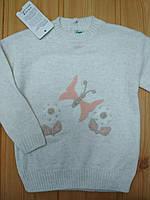 Теплый свитерок нарядный с бабочками на девочку 2 лет