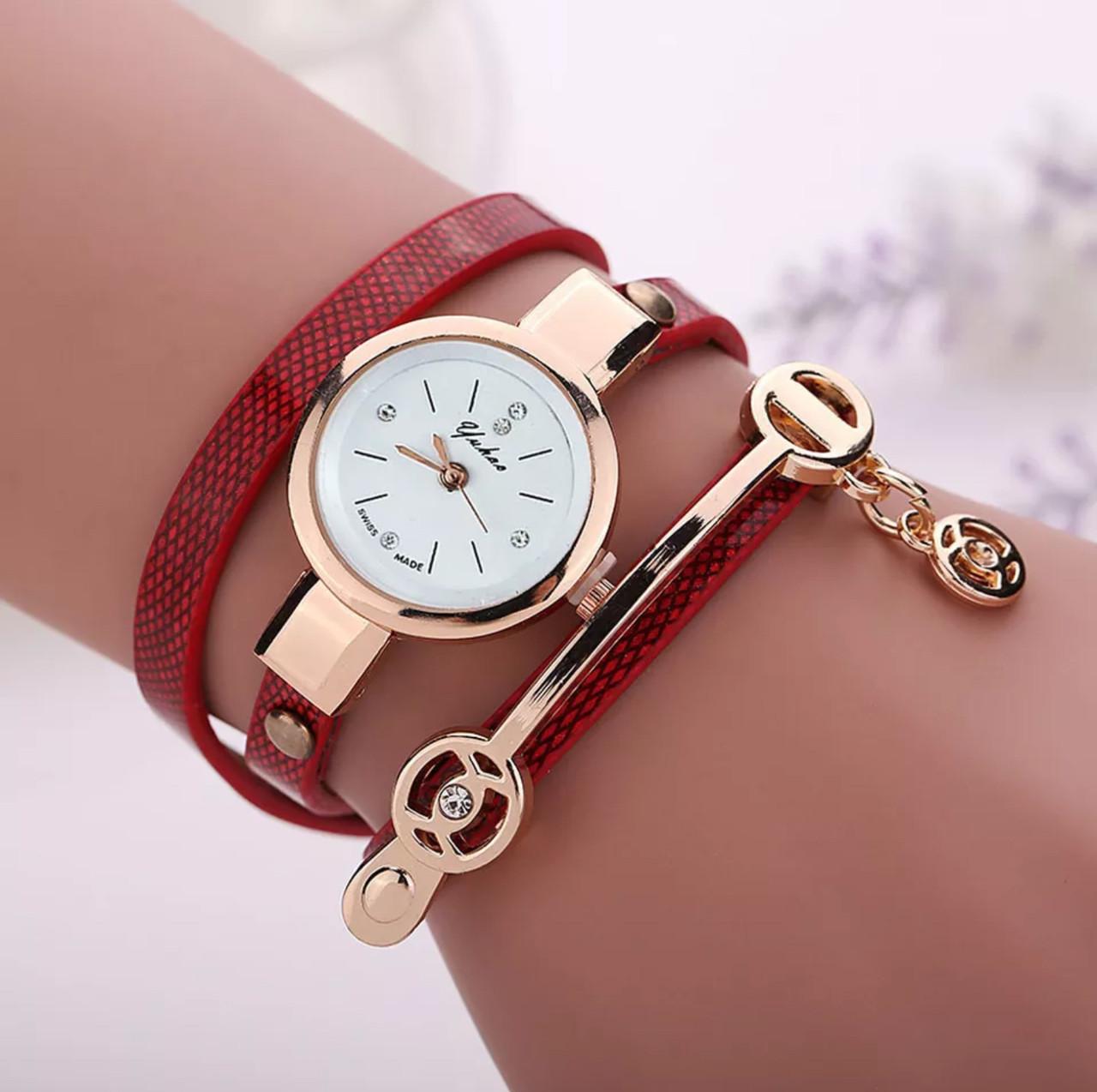 87ce282fe013 Стильные женские наручные часы-браслет «Red time» (красный)  продажа ...