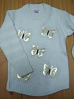 Теплый нарядный свитерок туника с бабочками на девочку 4, 6, 8 лет