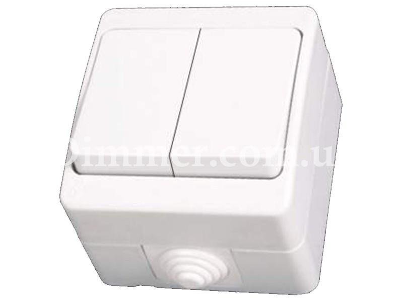 Выключатель двухклавишный NEMLIER белый (12шт/уп)