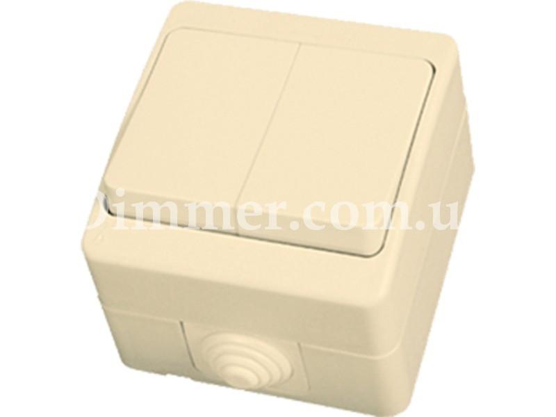 Выключатель двухклавишный NEMLIER крем (12шт/уп)