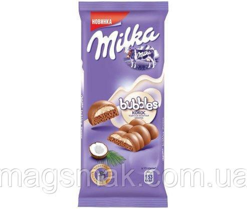 Шоколад Milka Bubbles пористый с кокосом, 97г, фото 2