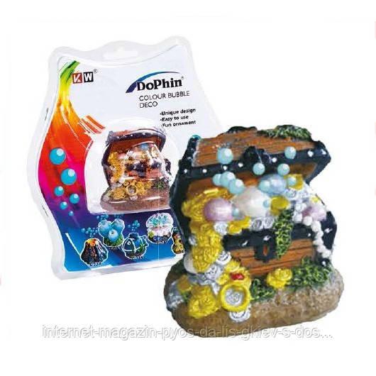 KW Dophin Декор Сундук с распылителем для аквариума
