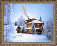 Картина гобеленовая Дом в зимнем лесу 65х50см в багетной раме G306