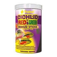 Tropical CICHLID RED and GREEN MEDIUM STICKS палочки со спирулиной и астаксантином для цихлид среднего размера, 10л