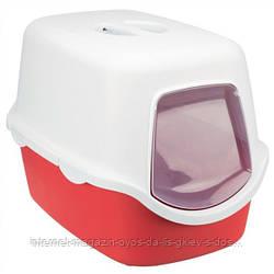 Trixie Vico Litter Tray закрытый туалет для кошек красный-белый 40х40х56см