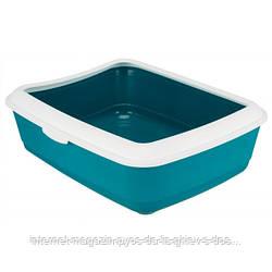 Trixie Classic Litter Tray туалет с бортом для кошек бирюзовый 47х37х15см