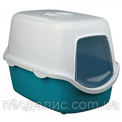 Trixie Vico Litter Tray закрытый туалет-домик для кошек бирюзовый-белый 40х40х56см