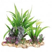 Trixie растение в аквариум искусственное с основой из камня, 18см