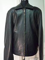 Куртка мужская чёрного цвета из натуральной кожи на молнии длина длина 65 см 46р 48р  50р 52р 54р 56р