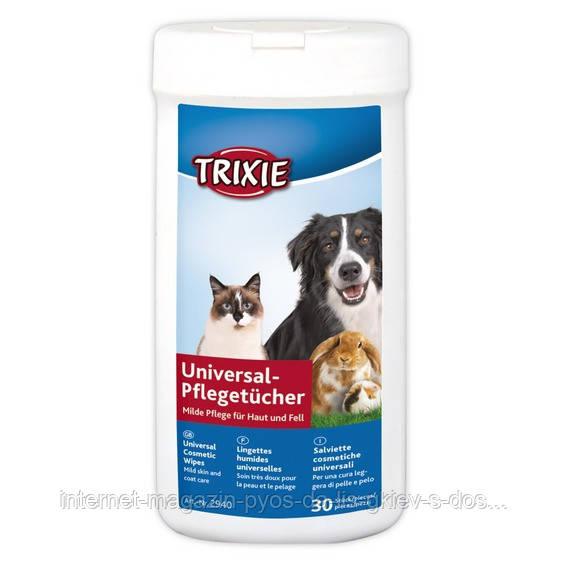 Trixie гигиенические универсальные салфетки для животных в тубе, 30шт.
