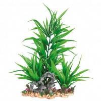 Trixie растение в аквариум искусственное с основой из камня зеленое, 28см