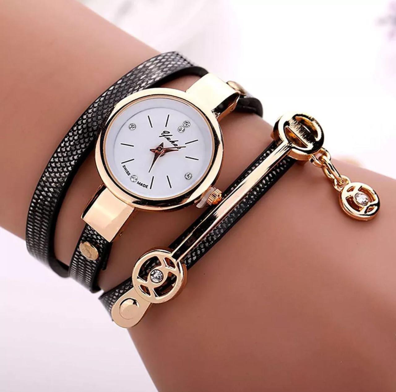 Стильные женские наручные часы-браслет «Black time» (черный)