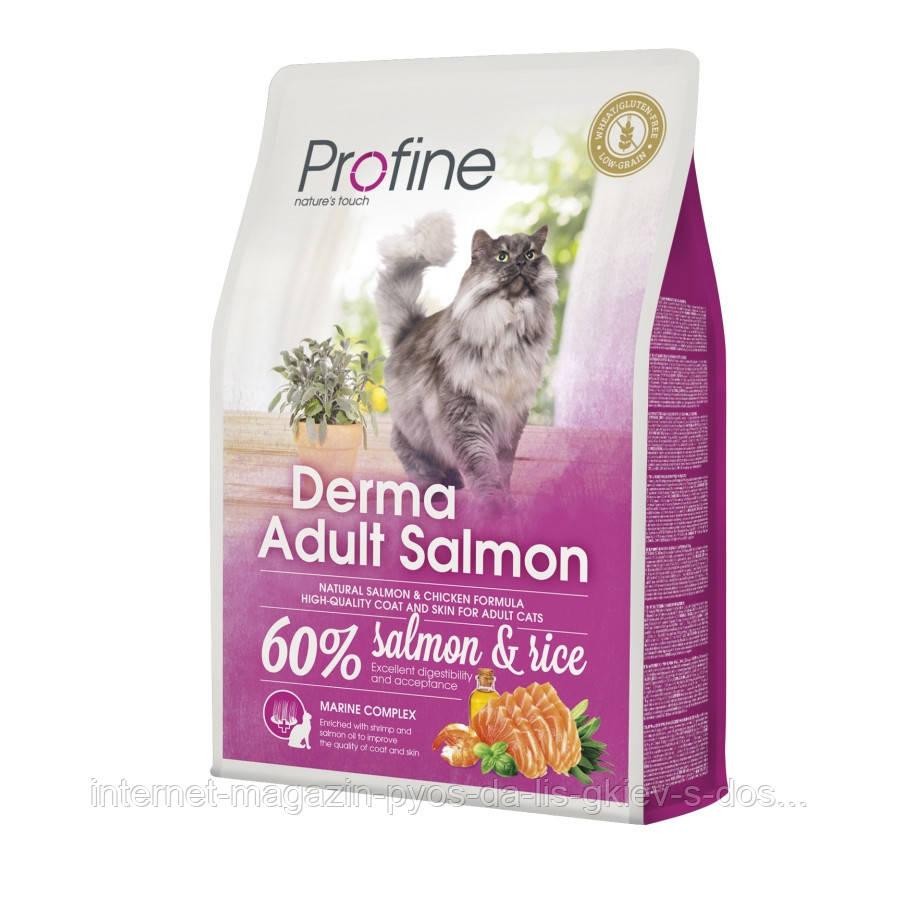 Profine Cat Derma Adult Salmon сухой корм с лососем для здоровья кожи и шерсти котов и кошек, 2кг