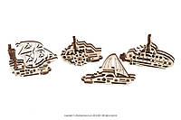 Механические пазлы Ugears «Фиджеты-Корабли». Набор из 4 шт., фото 1