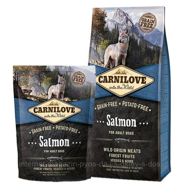 Carnilove Salmon Adult Dog полнорационный беззерновой корм с лососем для взрослых собак всех пород, 12кг