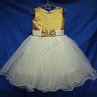Детское нарядное платье бальное Пайетки-1 (золото+белый) Возраст 4-5 лет., фото 1